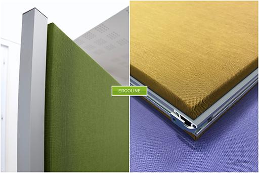 Claustras acoustiques hautes performances en tissu technique vert et jaune